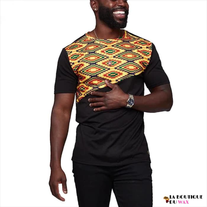 T-shirt Traditionel Kitenge manches courtes