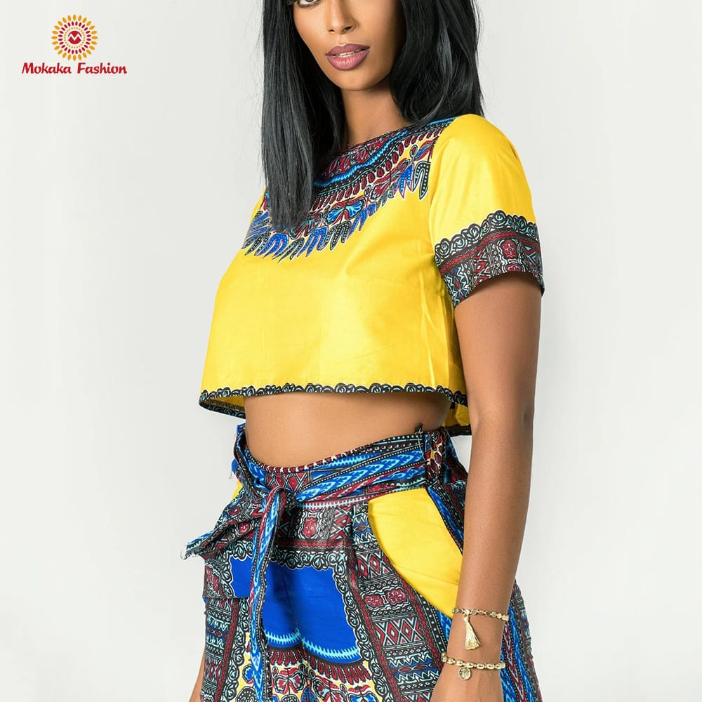 The newest summer african t shirt sexy clothing ankara skirt and top