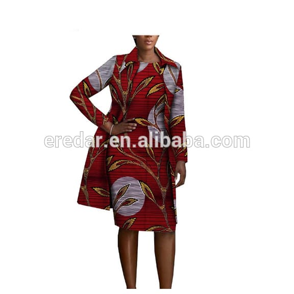 2020 african clothing 2 pieces set for women AFRIPRIDE full sleeve knee-length jacket+sleeveless knee length dress set