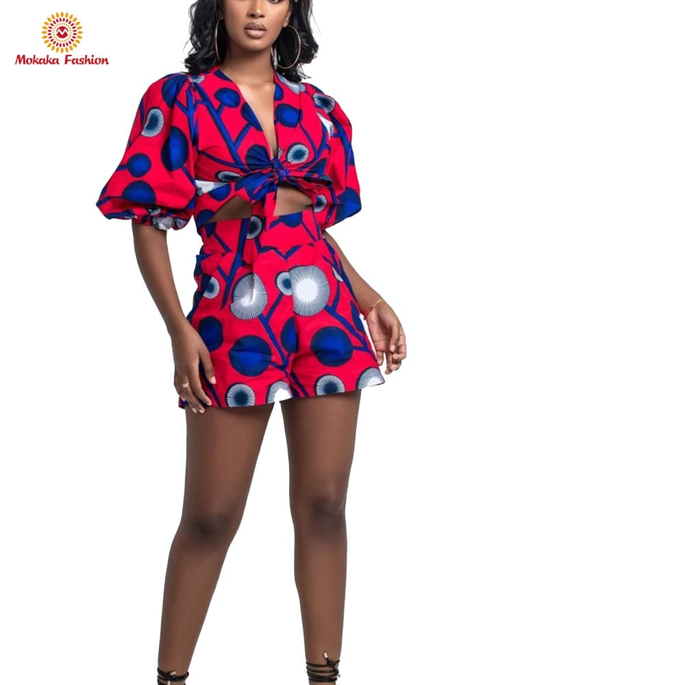 Customized high quality fashionable african print jumpsuits ankara 2 pieces sets clothing with best