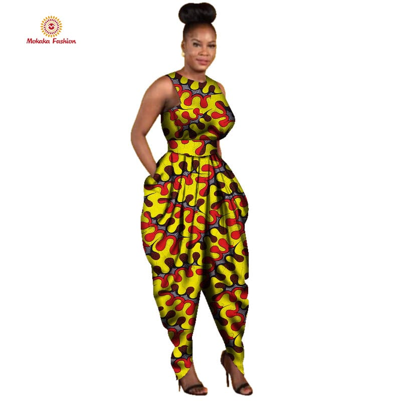 Fashion design summer african print jumpsuit africa clothing clothes