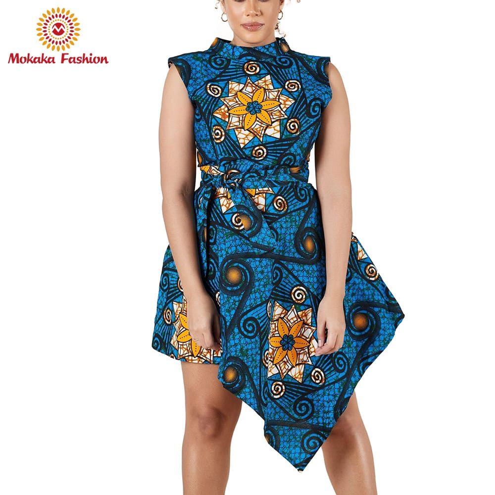 Customized Professional wax print fabric african dresses nigerian designs women clothes