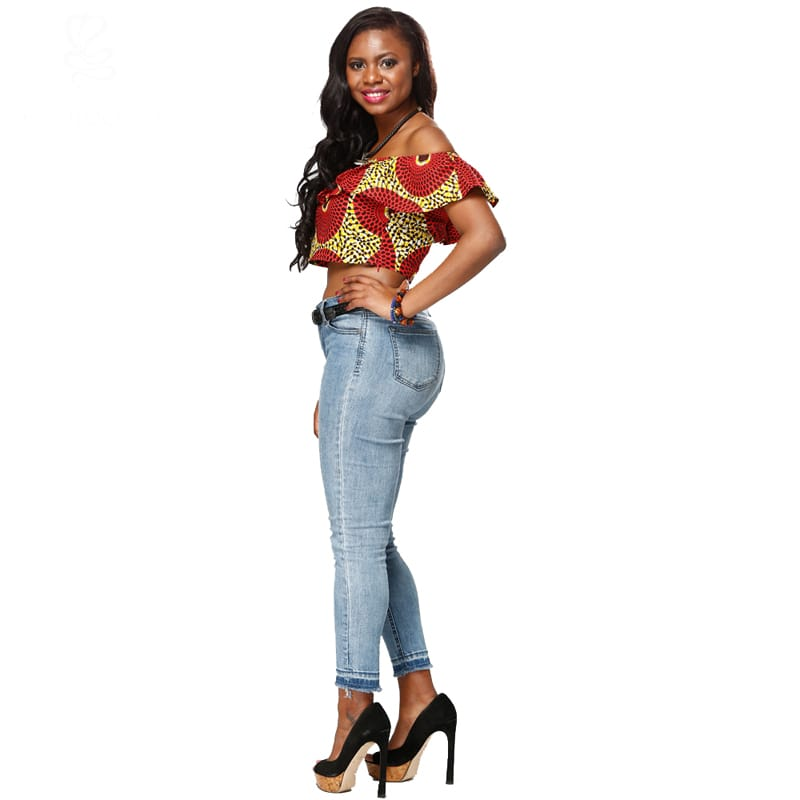 ZH009 Summer Fashion African Wax Causal Daily off shoulder Women's Top