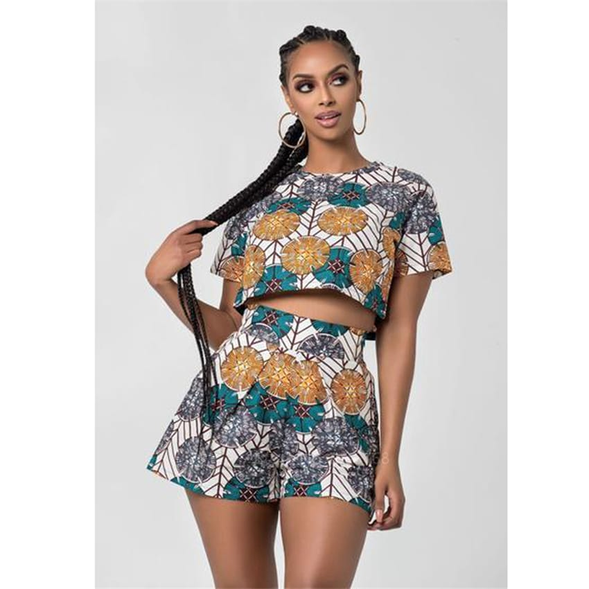 Ensemble short et top imprimé Dashiki