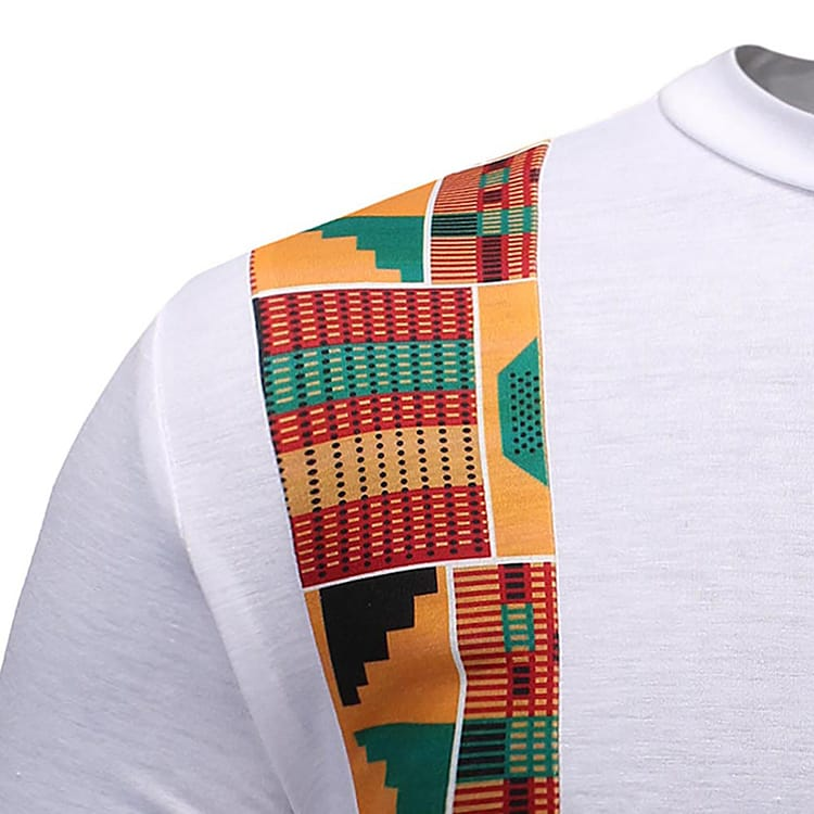 New Summer African Style Patchwork Turkish Men Short-Sleeved T-Shirt Printing