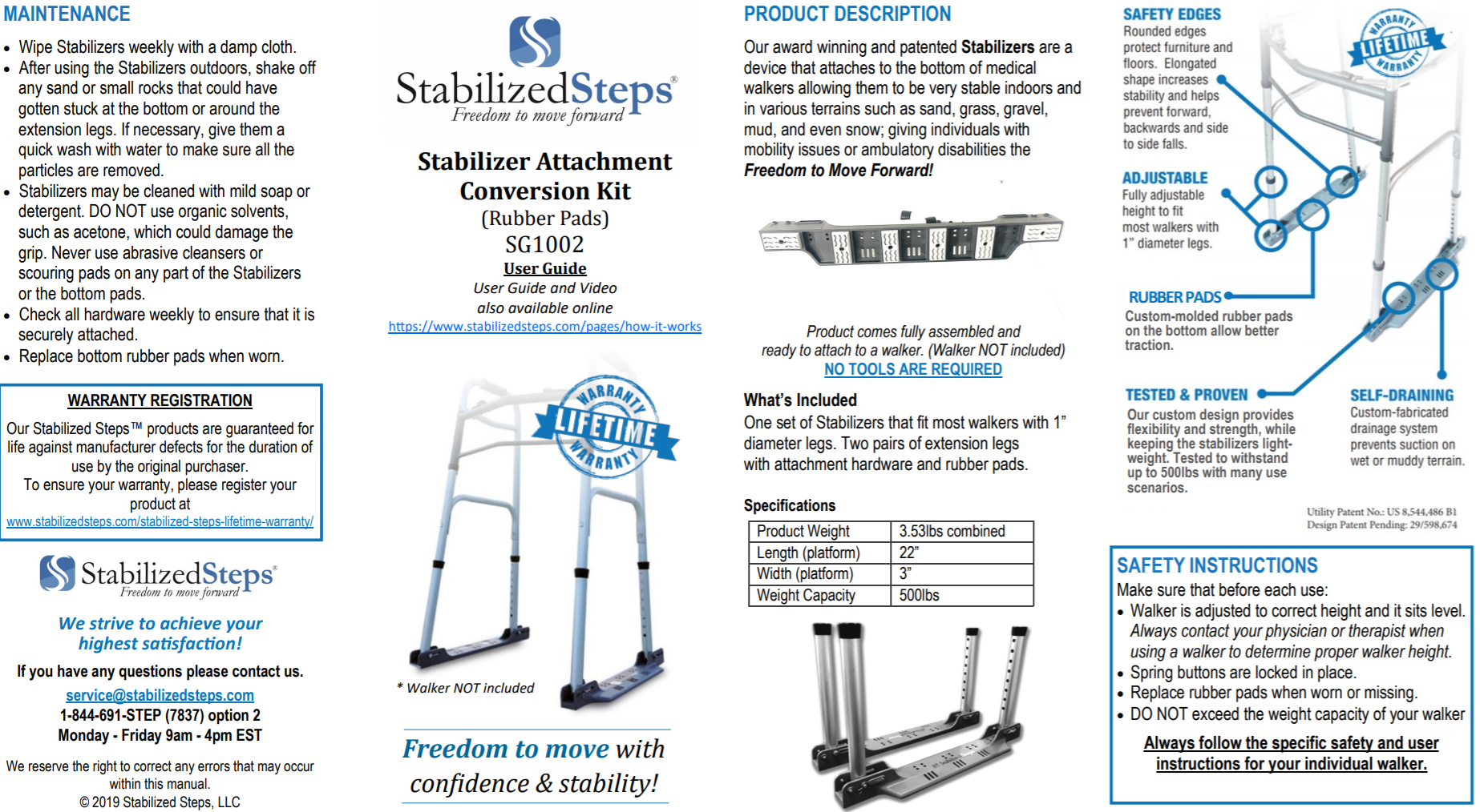 Stabilized Steps - Stabilizer Attachment SG1002 User Guide. Best tool for stability and fall prevention