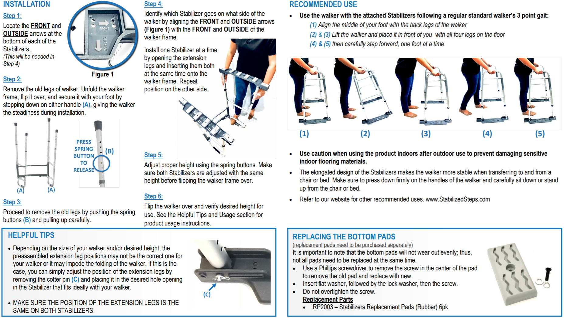 Stabilized Steps - Stabilizer Attachment SG1002. User Guide. Best tool for stability and fall prevention