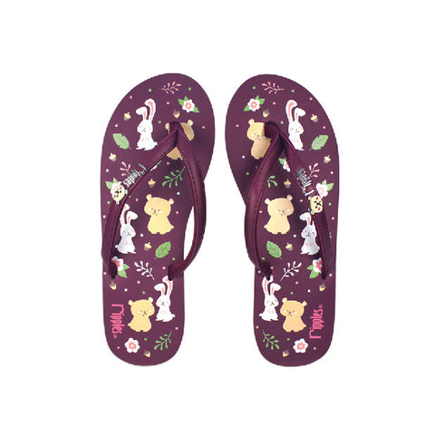 Teddy Rabbit Ladies Flip Flops (Maroon)