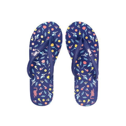 Little Florals Ladies Flip Flops (Navy Blue)