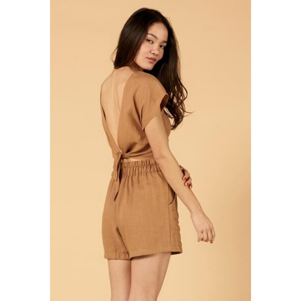 whimsy and row Valentina shorts and Valentina top in brown linen