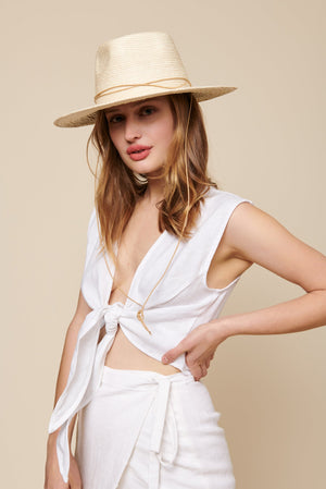 whimsy and row Valentina top in white linen