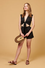 whimsy and row Valentina top in black linen