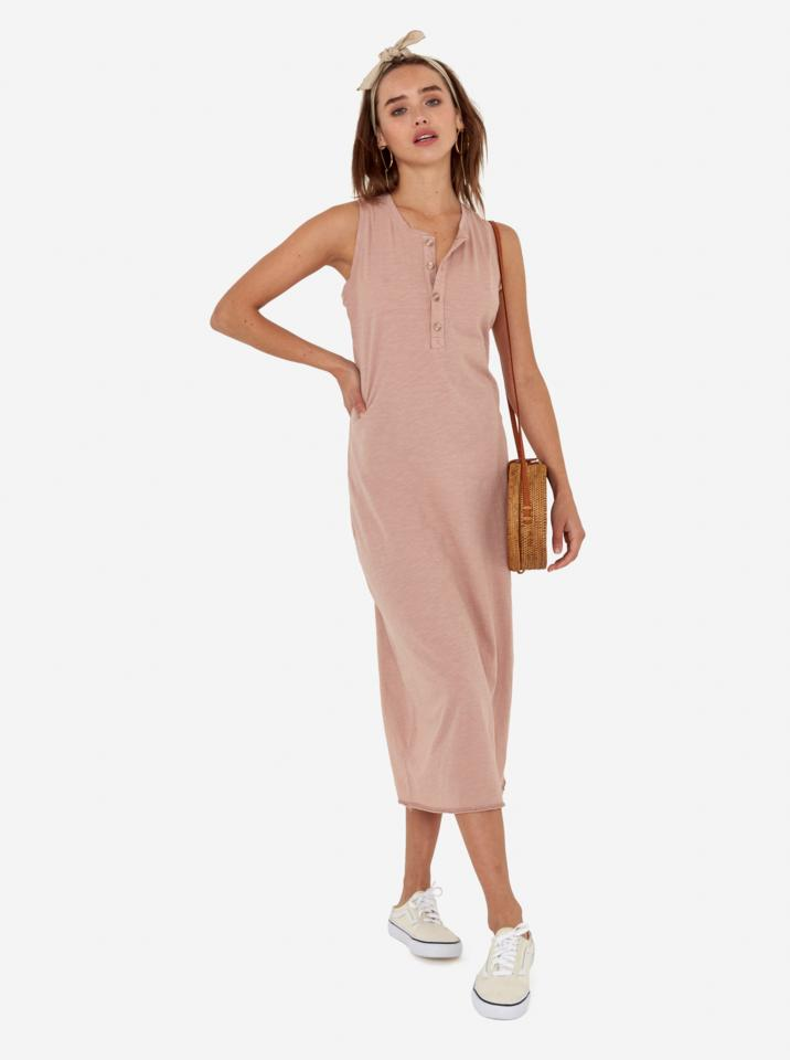 Avery midi dress front view in rose mate the label