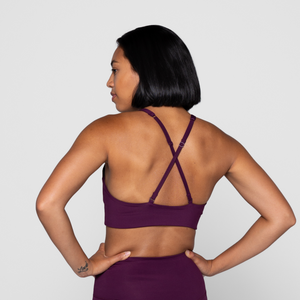 girlfriend collective topangra bra in plum back