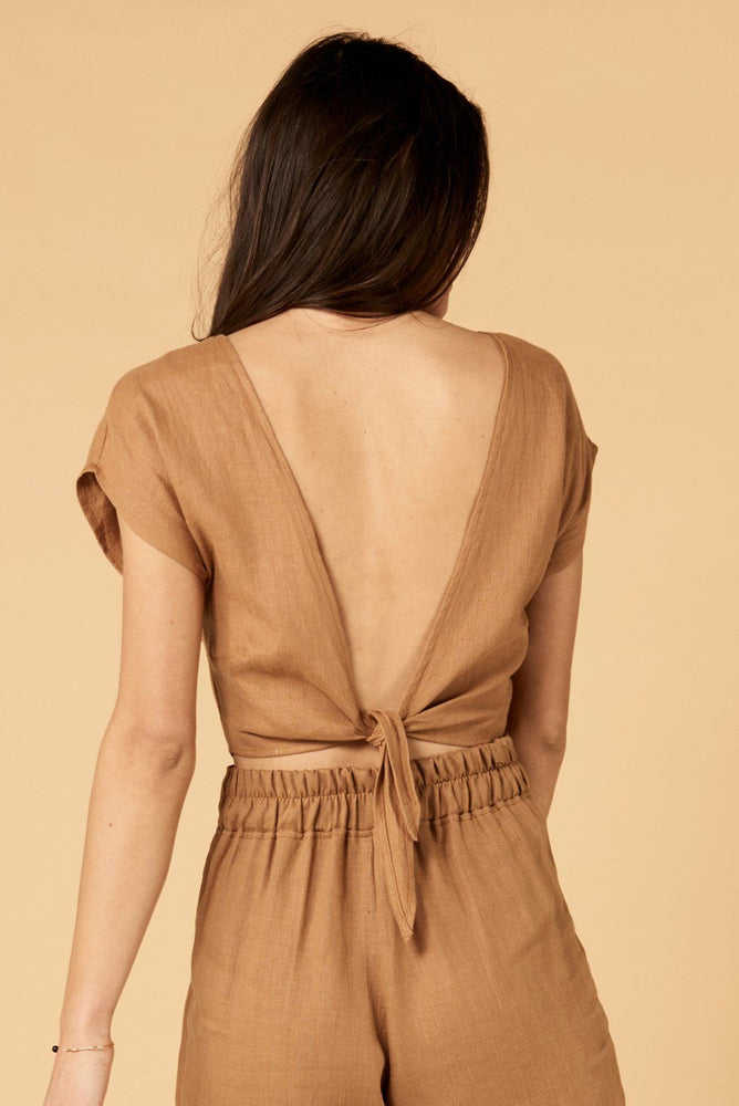 whimsy and row Valentina top in brown linen