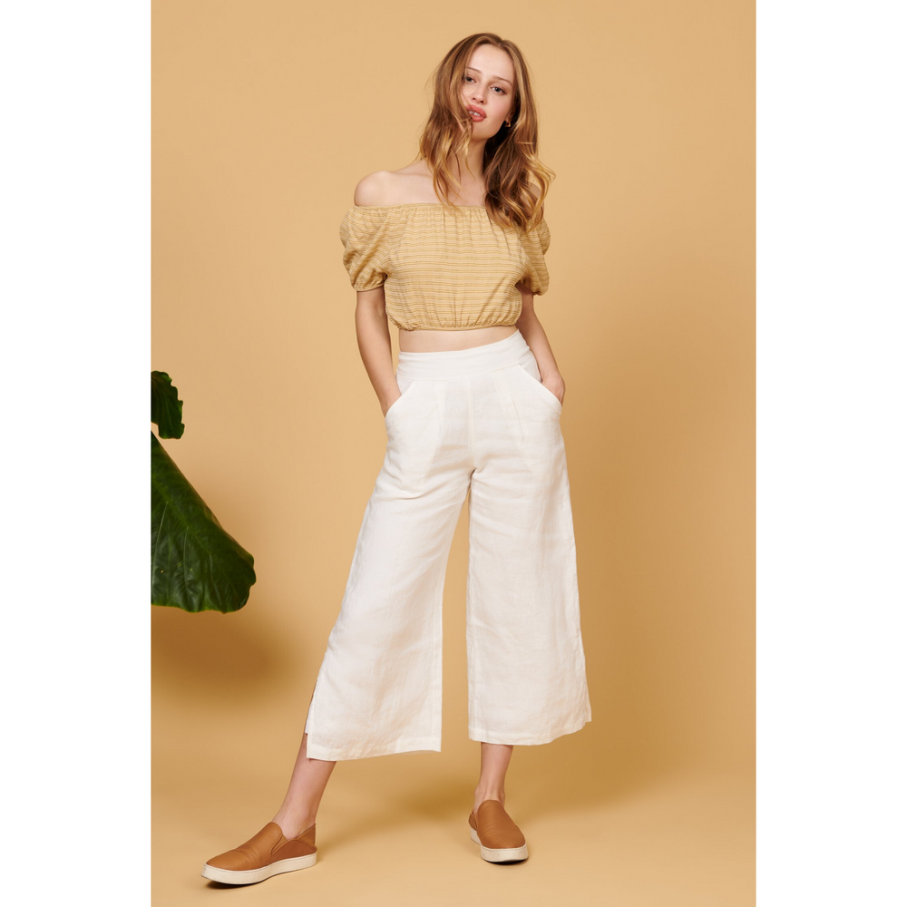 whimsy and row Valentina pant in white linen