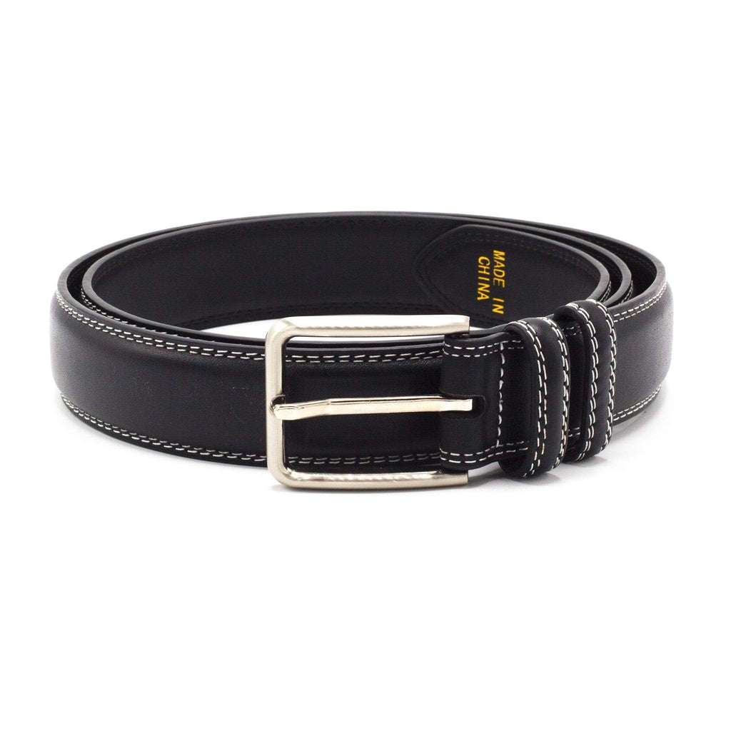 STACY ADAMS BELT BLACK/WHITE STITCH