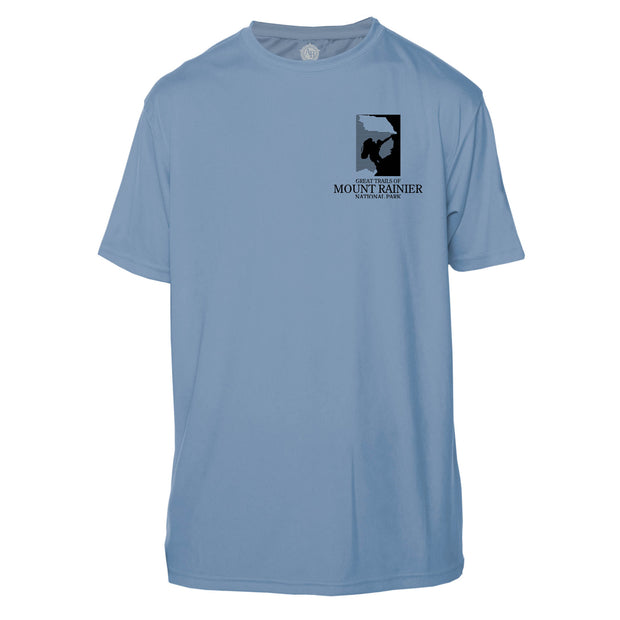 Mount Rainier Trails Diamond Topo Short Sleeve Microfiber Men's T-Shirt