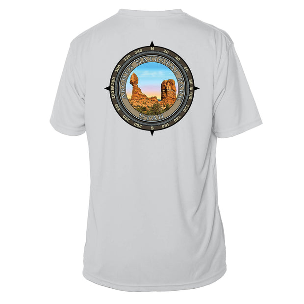 Retro Compass Arches National Park Microfiber Short Sleeve T-Shirt