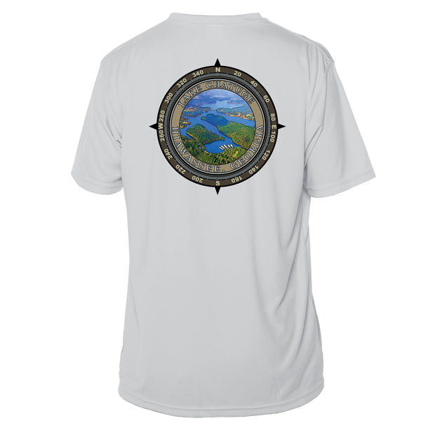 Retro Compass Lake Chatuge Microfiber Short Sleeve T-Shirt