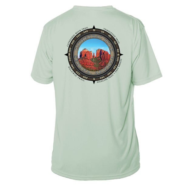 Retro Compass Cathedral Rock Microfiber Short Sleeve T-Shirt