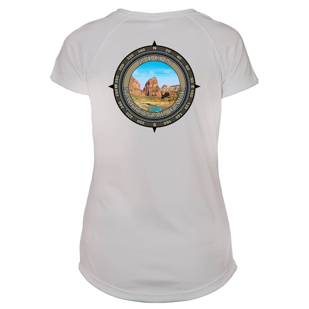 Retro Compass Zion National Park Microfiber Short Sleeve Women's T-Shirt