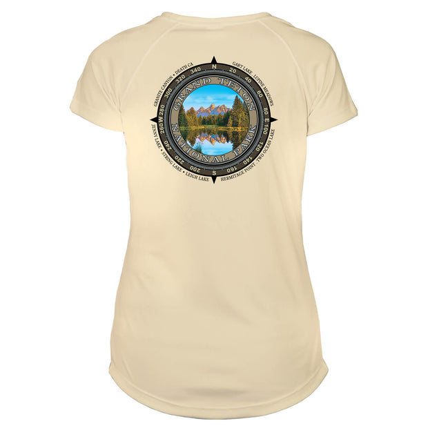 Retro Compass Grand Teton National Park Microfiber Short Sleeve Women's T-Shirt