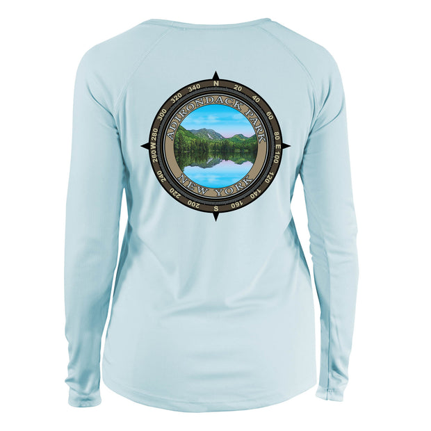 Retro Compass Adirondack Park Long Sleeve Microfiber Women's T-Shirt
