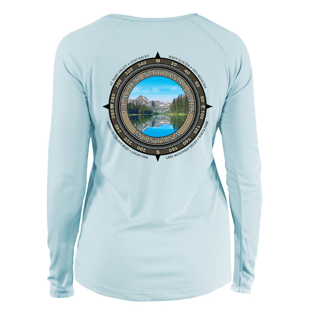 Retro Compass Glacier National Park Long Sleeve Microfiber Women's T-Shirt