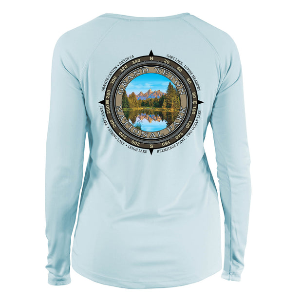 Retro Compass Grand Teton National Park Long Sleeve Microfiber Women's T-Shirt