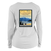 Glacier National Park Vintage Destinations Long Sleeve Microfiber Women's T-Shirt