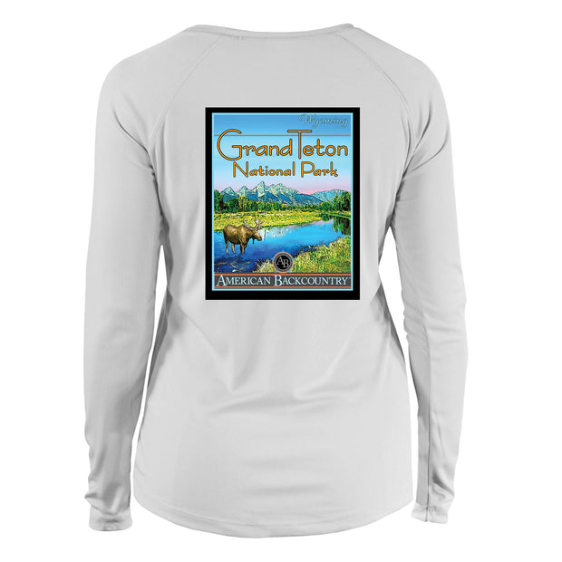 Grand Teton National Park Vintage Destinations Long Sleeve Microfiber Women's T-Shirt