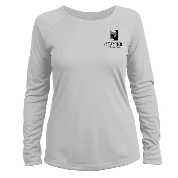 Glacier National Park Diamond Topo Long Sleeve Microfiber Women's T-Shirt