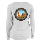 Retro Compass Arches National Park Long Sleeve Microfiber Women's T-Shirt