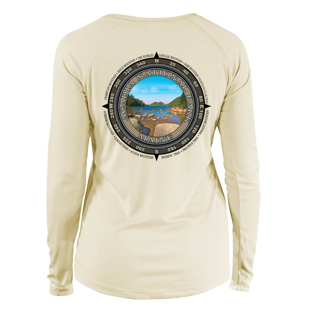 Retro Compass Acadia National Park Long Sleeve Microfiber Women's T-Shirt