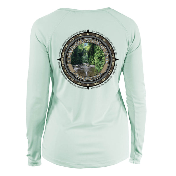 Retro Compass Redwood National Park Long Sleeve Microfiber Women's T-Shirt
