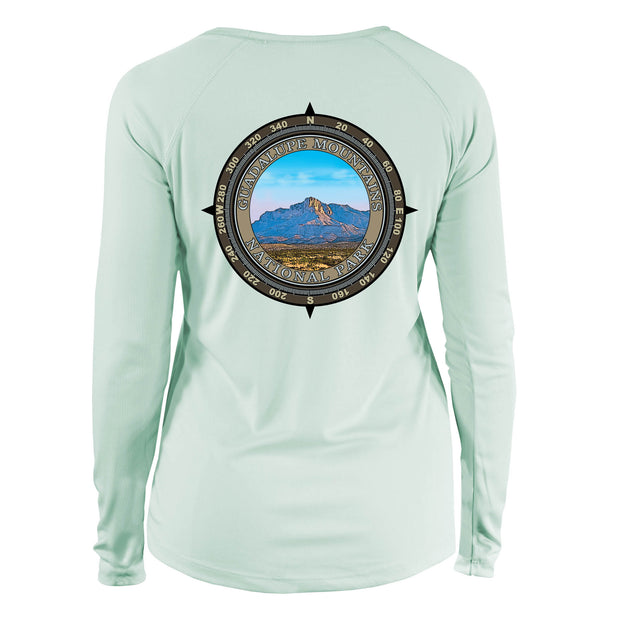 Retro Compass Guadalupe Mountains Long Sleeve Microfiber Women's T-Shirt