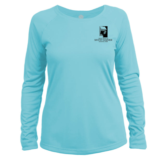 Mount Rainier Peaks Diamond Topo Long Sleeve Microfiber Women's T-Shirt