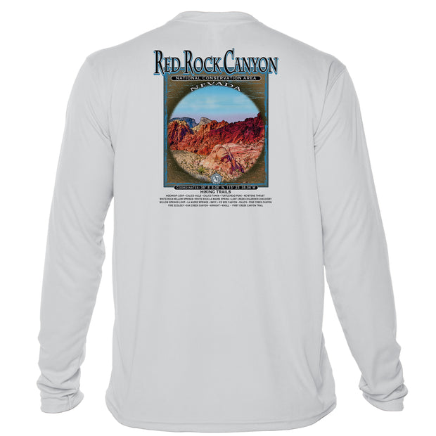 Retro Interpretive Red Rock Canyon Microfiber Long Sleeve T-Shirt