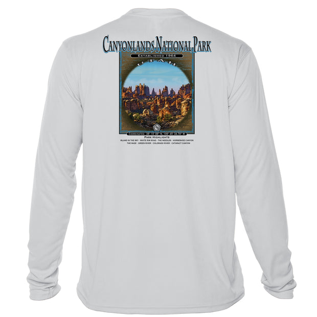 Retro Interpretive Canyonlands National Park Microfiber Long Sleeve T-Shirt