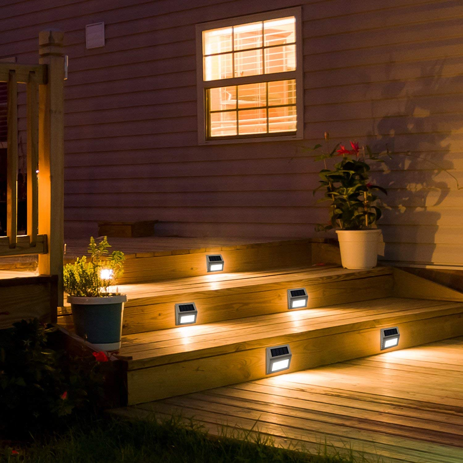 LED Solar-Powered Deck Lights