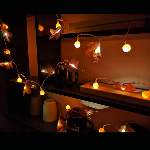 Pumpkin Maple Leaf String Lights