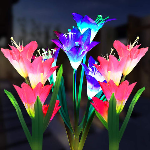 Solar Powered Lily Flower Light - 2 Pack
