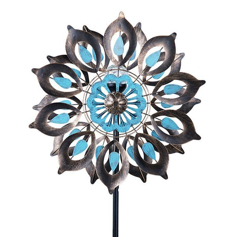 Copper-Colored Metal Lily Wind Spinner