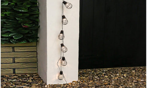 Solar Cage Lantern String Lights