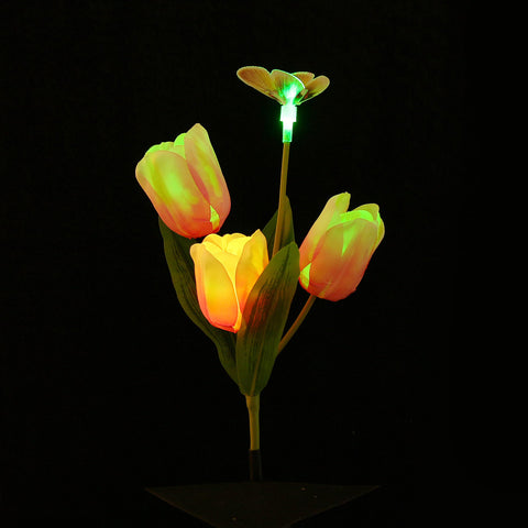 Solar Powered Tulip Outdoor Yard Garden Lamp