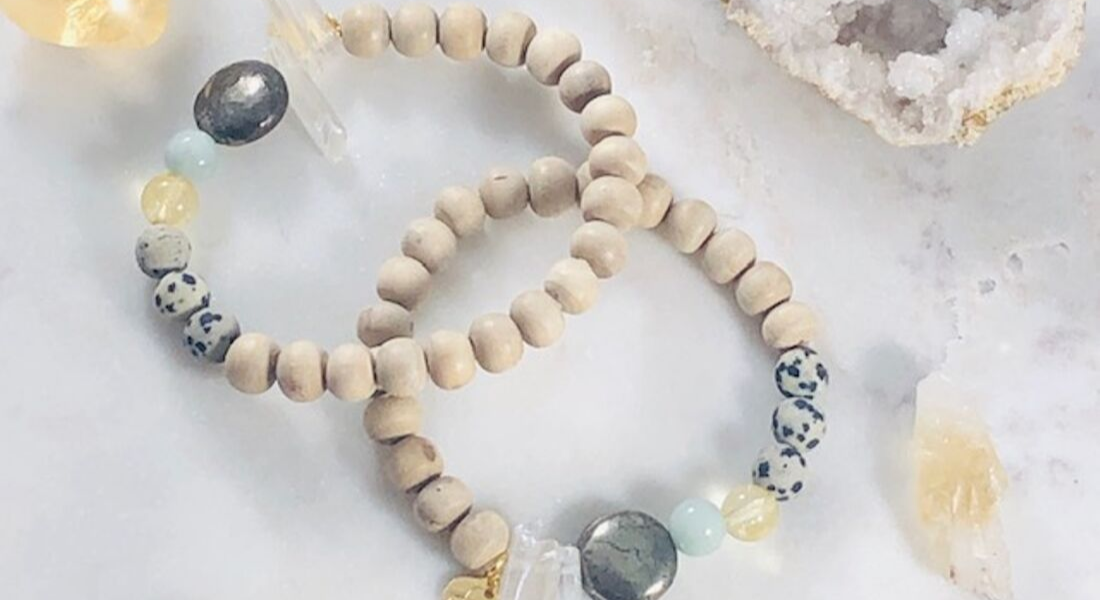 handmade stacking bracelet with healing crystals for abundance