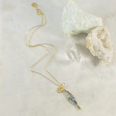 Handmade abalone feather necklace by Sarah Belle