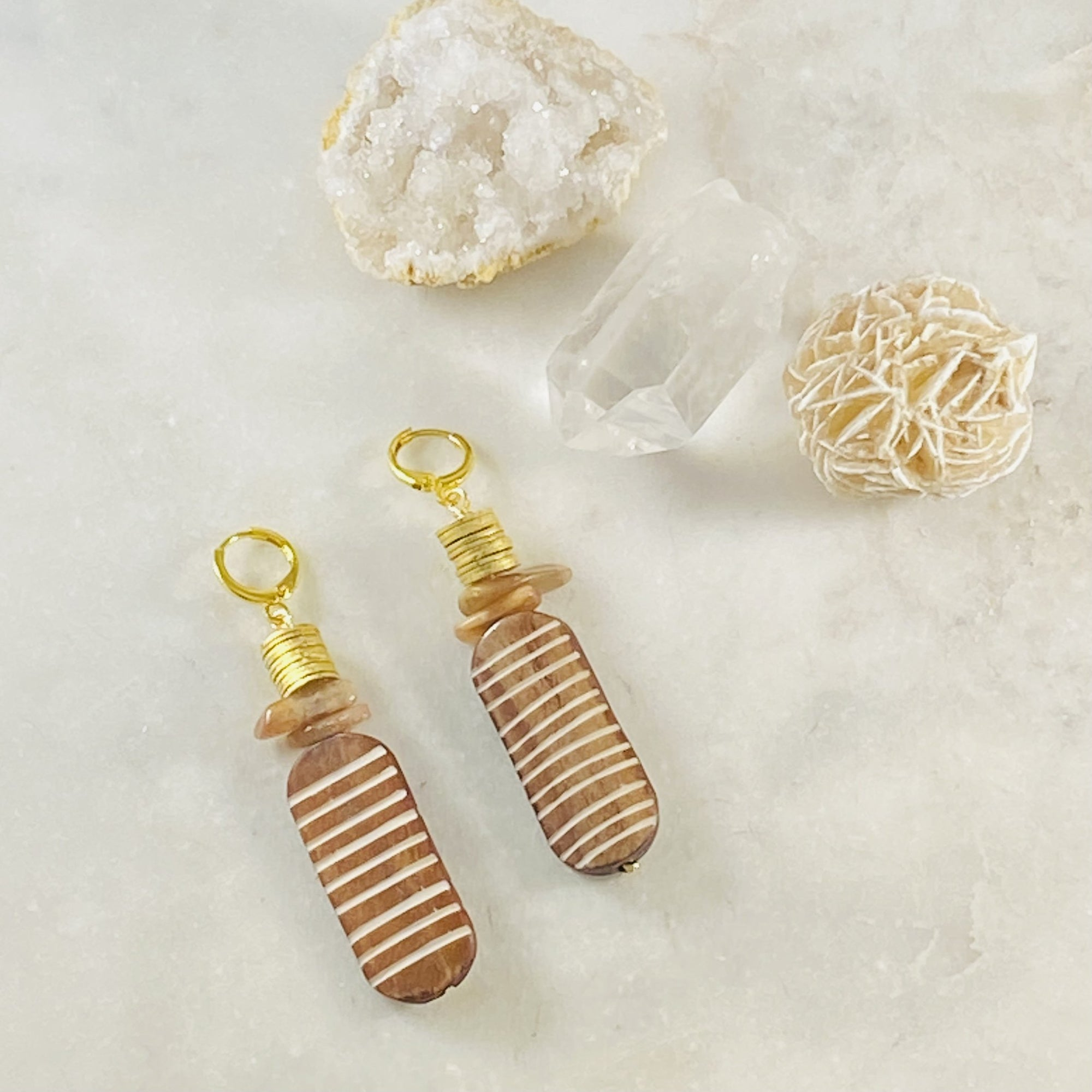 Handmade Aiyana earrings by Sarah Belle with an eclectic vibe