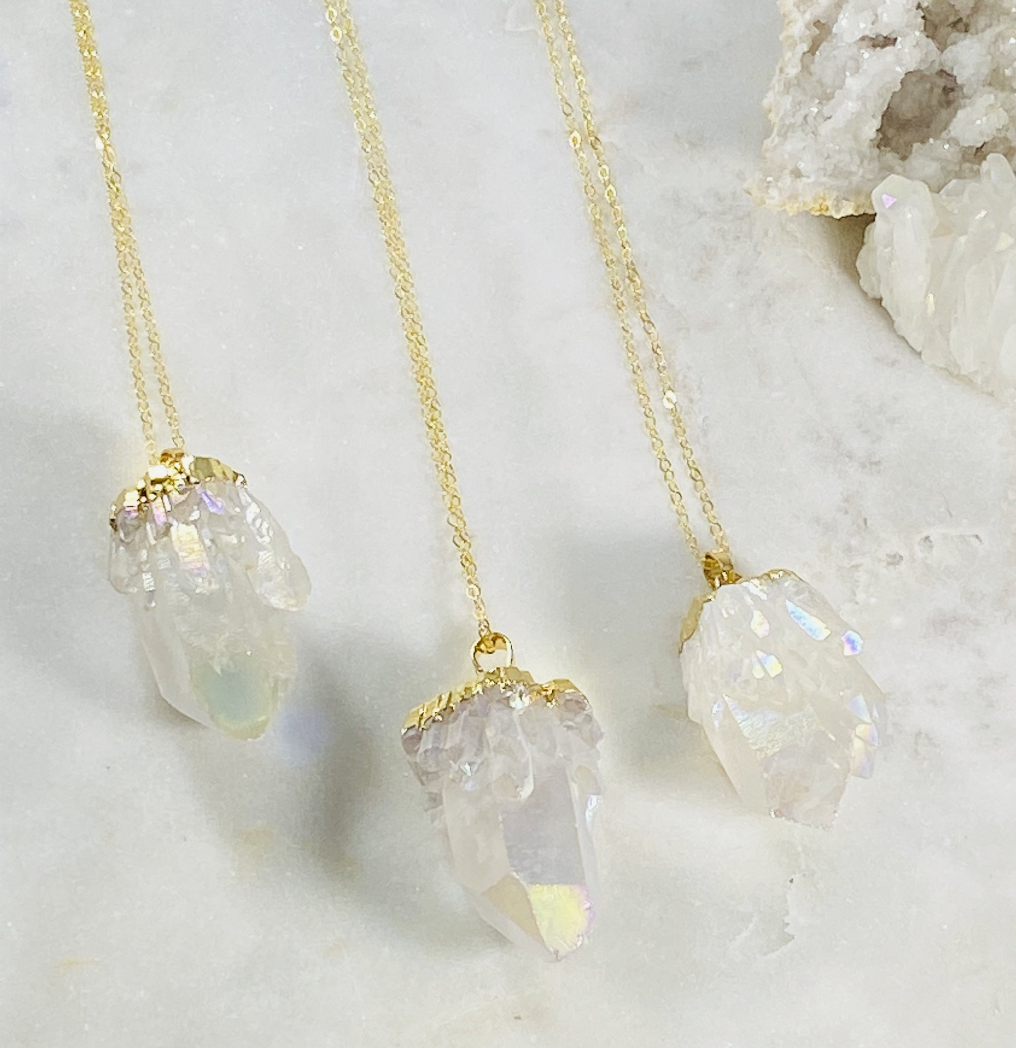 High vibe angel aura quartz necklace for supporting the crown chakra